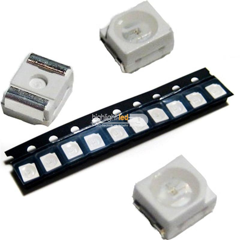 10-rote-SMD-LEDs-PLCC2-3528-tief-rot-red-rouge-rojo-rosso-rood-SMDs-Led-PLCC-2