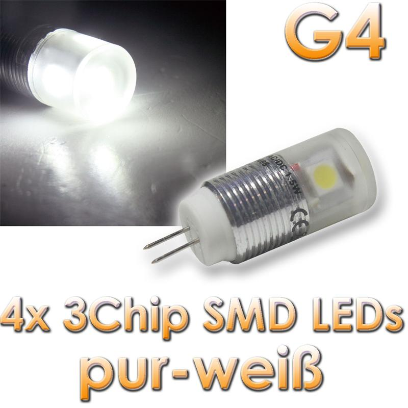 g4 led leuchtmittel 4x power 3 chip smd leds 5050 warmwei. Black Bedroom Furniture Sets. Home Design Ideas