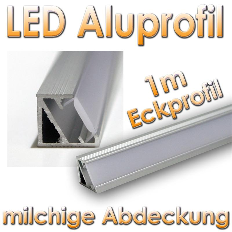 1m led aluminium eckprofil straline mikro alu leiste abdeckung opal 50050201 ebay. Black Bedroom Furniture Sets. Home Design Ideas