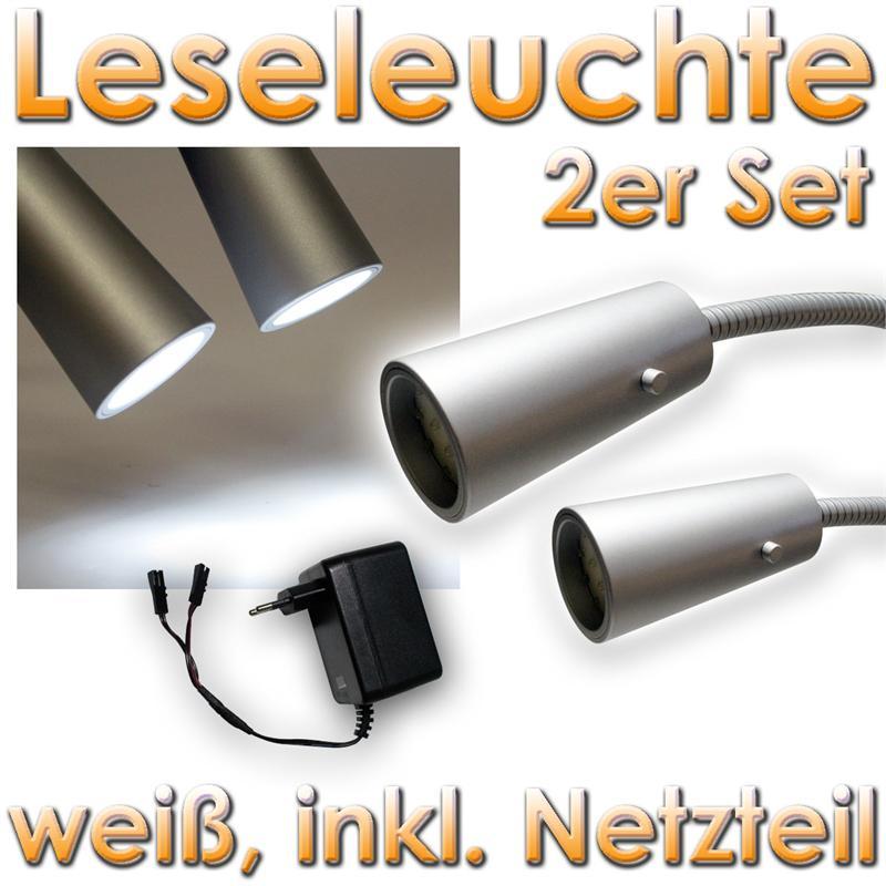 doppelset led aluminium leselampe leseleuchte 14 leds. Black Bedroom Furniture Sets. Home Design Ideas