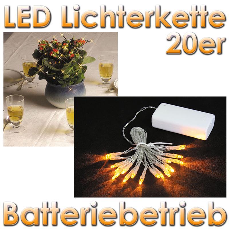 LED Mini-Lichterkette, 20 gelbe LEDs (Batterie)A