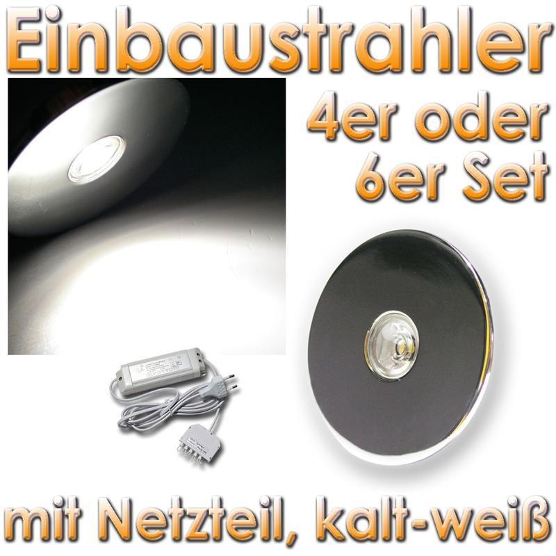 set 3w power led einbaustrahler einbauleuchte chrom spots strahler inkl trafo ebay. Black Bedroom Furniture Sets. Home Design Ideas