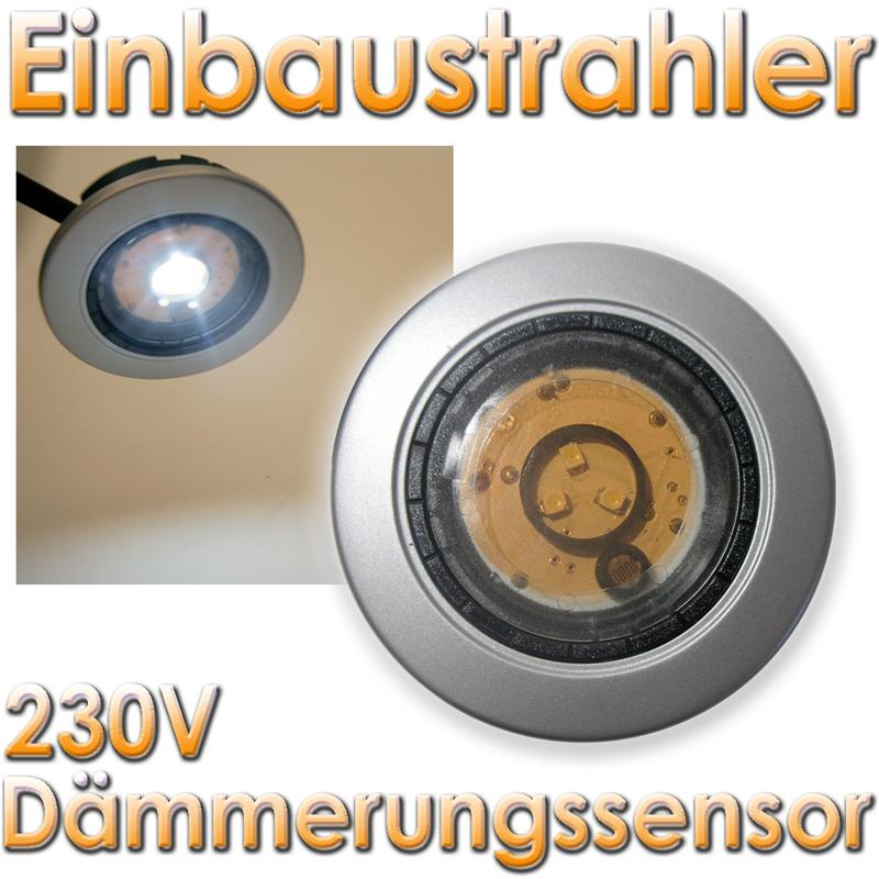 led unterbau einbaustrahler mit d mmerungssensor 230v unterbaustrahler spot ebay. Black Bedroom Furniture Sets. Home Design Ideas