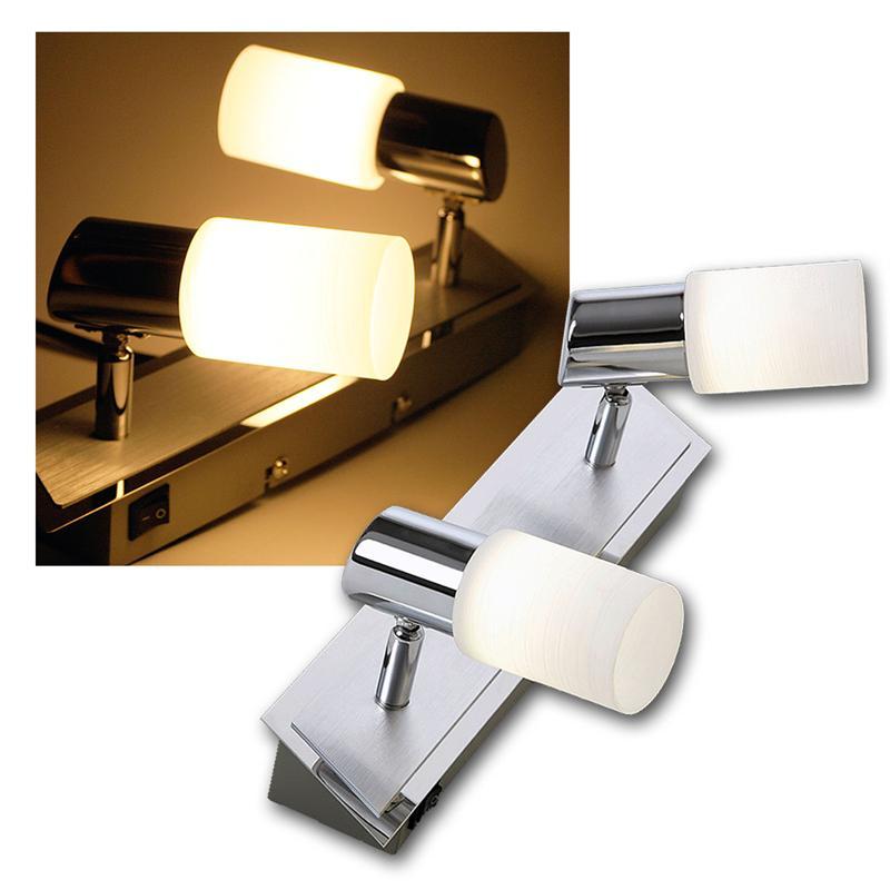 LED-Leuchte-Alu-gebuerstet-2x-5W-COB-LEDs-warmweiss-Deckenleuchte-Lampe-Strahler