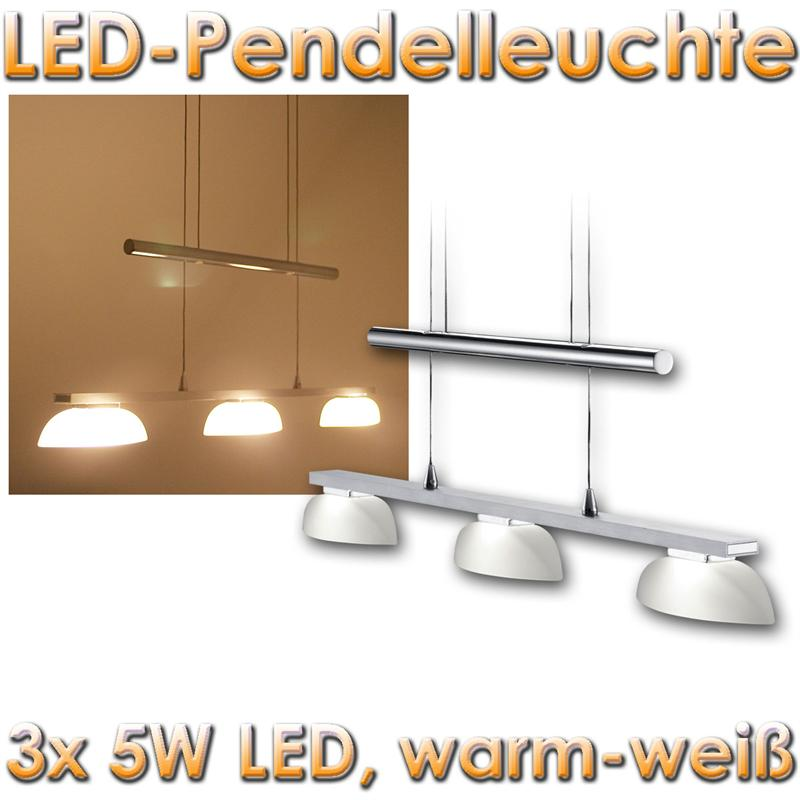 led pendelleuchte 3x5w alu chrom glas h ngelampe h henverstellbar h ngeleuchte ebay. Black Bedroom Furniture Sets. Home Design Ideas