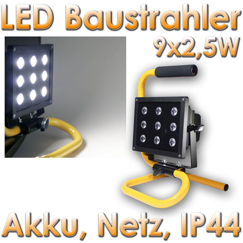 led akku baustrahler 9x 2 5w highpower leds 2000lm ip44 baulicht arbeitslampe ebay. Black Bedroom Furniture Sets. Home Design Ideas