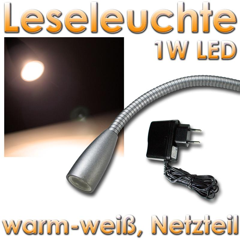 led wand leseleuchte 1w warmwei silber eloxiert flexarm. Black Bedroom Furniture Sets. Home Design Ideas