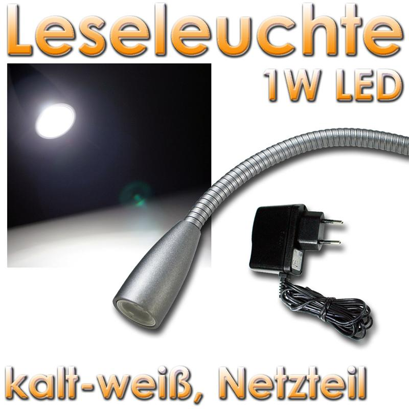 led wand leseleuchte 1w kaltwei silber eloxiert flexarm leselampe wandlampe ebay. Black Bedroom Furniture Sets. Home Design Ideas