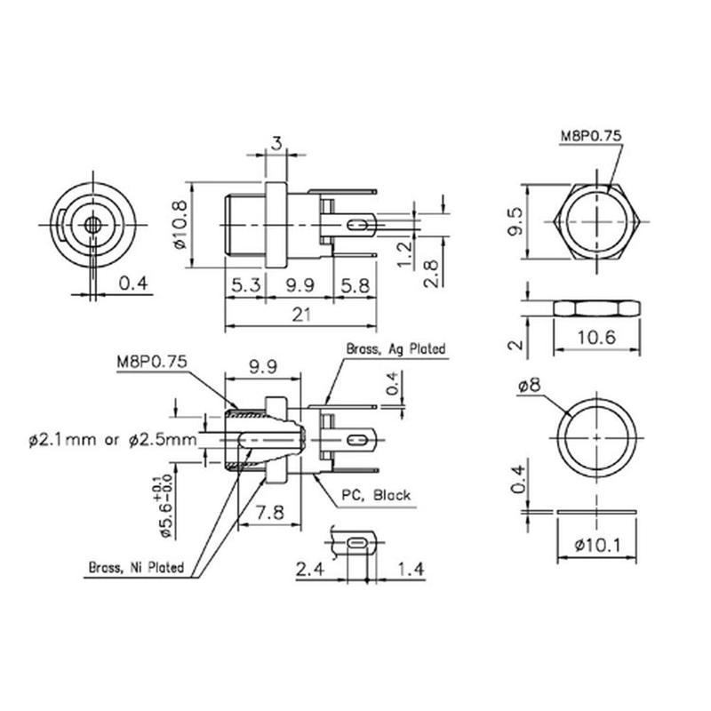10 x DC-Installazione Jack Per Cavo Spina 2,1x5,5mm Presa Montaggio Presa Frizione