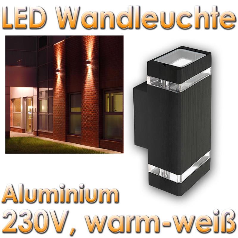led wandleuchte anthrazit 2x60 leds warmwei eckig ip44. Black Bedroom Furniture Sets. Home Design Ideas