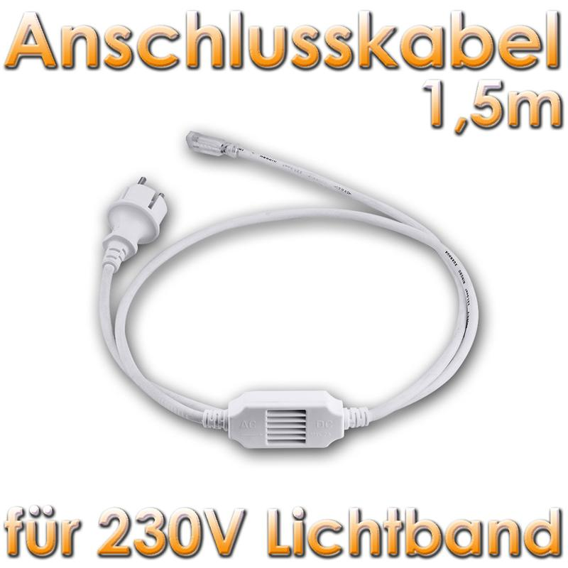 set anschlusskabel 1 5m f r unser 230v led lichtband strom anschluss 10006503 ebay. Black Bedroom Furniture Sets. Home Design Ideas