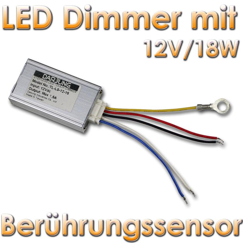 led dimmer mit ber hrungssensor f r 12v dc max 1 5a leds dimmen stufenlos ebay. Black Bedroom Furniture Sets. Home Design Ideas
