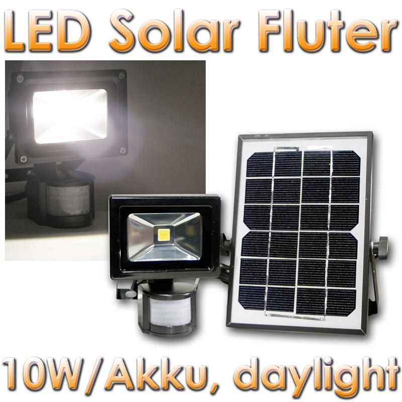 solar led flutlicht strahler 10w mit bewegungsmelder und akku au enleuchte ebay. Black Bedroom Furniture Sets. Home Design Ideas