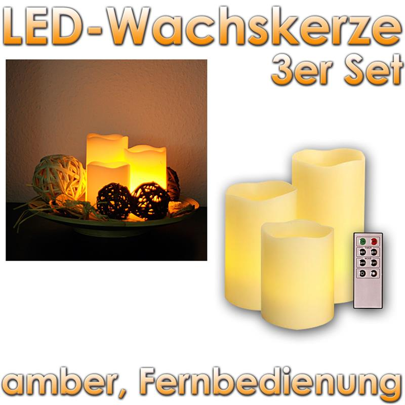 3er set led kerzen dimmbar mit fernbedienung timer wachs kerze flackernde leds ebay. Black Bedroom Furniture Sets. Home Design Ideas