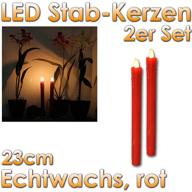 2er set led stabkerzen echtwachs rot kerzen flackernd tafelkerzen flammenlos. Black Bedroom Furniture Sets. Home Design Ideas