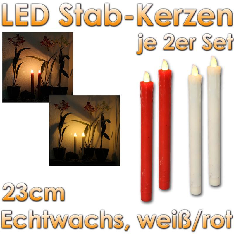 2er set led stabkerzen echtwachs kerze flackernd tafelkerze flammenlos candle ebay. Black Bedroom Furniture Sets. Home Design Ideas