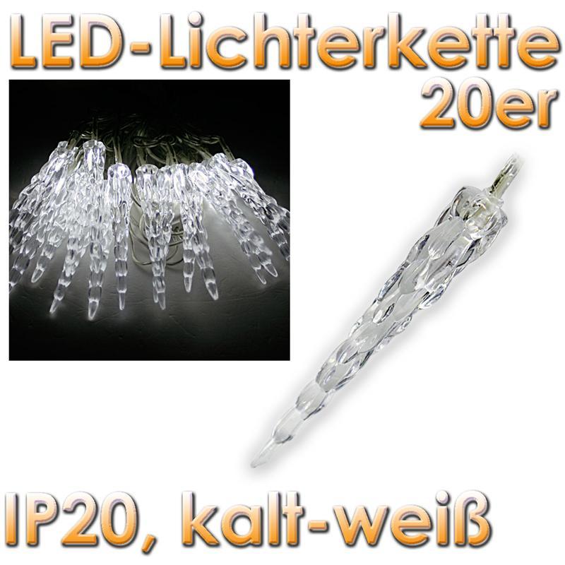 ChiliTec LED-Lichterkette mit 20 Eiszapfen kaltweiß, 230V