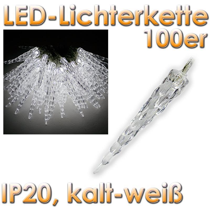 ChiliTec LED-Lichterkette mit 100 Eiszapfen kaltweiß, 230V