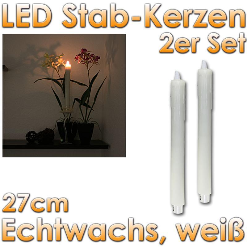 2er set led stabkerzen echtwachs kerzen tafelkerze leuchterkerzen flammenlos ebay. Black Bedroom Furniture Sets. Home Design Ideas