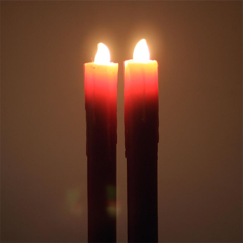 Set Of 2 Led Stick Candles 26 5cm Real Wax Coat Flameless