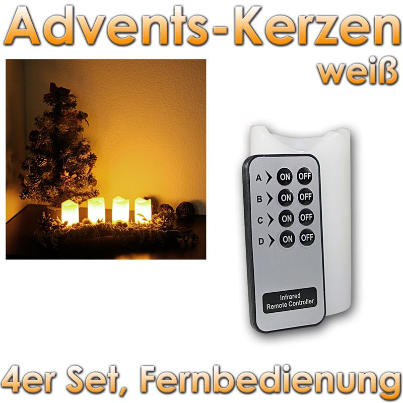 led advent kerzen 4er set adventskranz adventskerzen mit fernbedienung und leds ebay. Black Bedroom Furniture Sets. Home Design Ideas