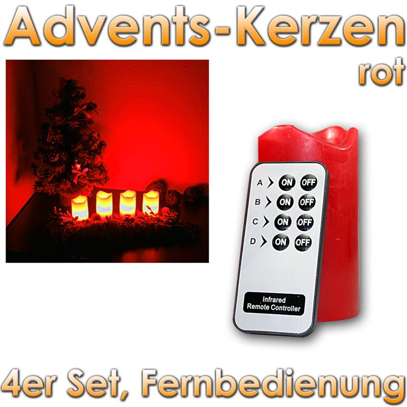 led advent kerzen 4er set adventskranz adventskerzen mit fernbedienung und leds. Black Bedroom Furniture Sets. Home Design Ideas