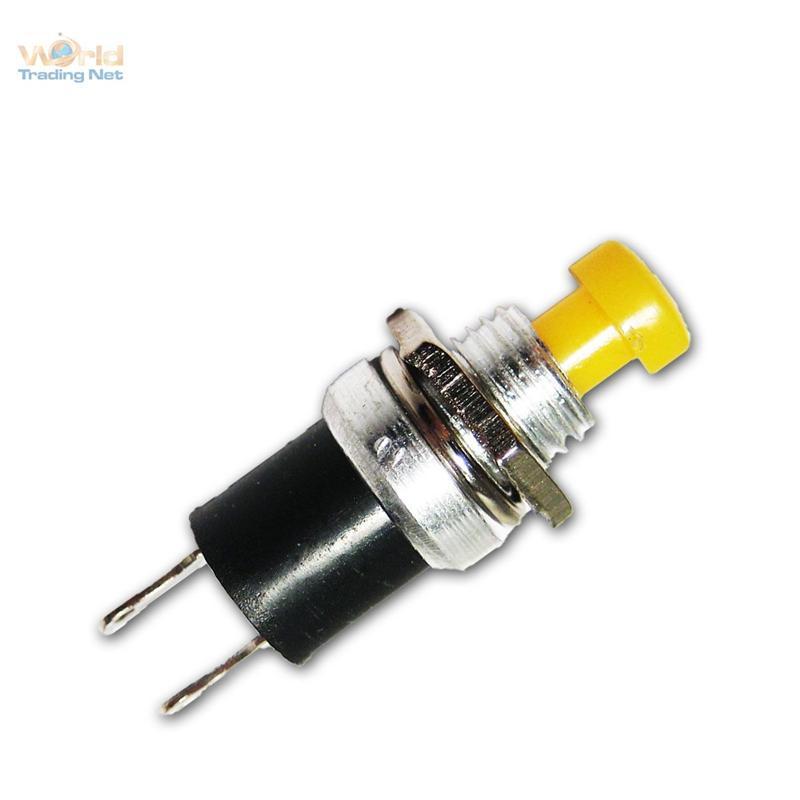 2x-Miniatur-Drucktaster-GELB-rund-1polig-3A-125V