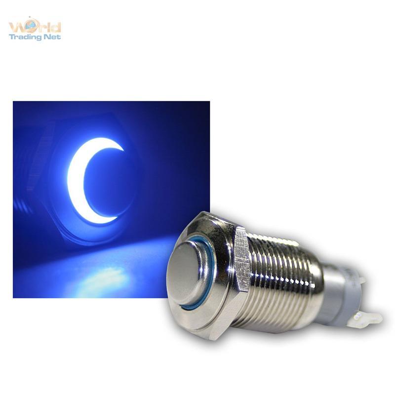 Edelstahl-Drucktaster-Taster-Klingeltaster-Klingelknopf-LED-beleuchtet-blau