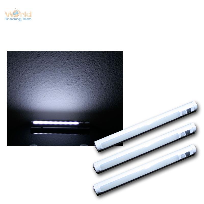 3er set led light strip cold white pir motion sensor rail battery powered. Black Bedroom Furniture Sets. Home Design Ideas
