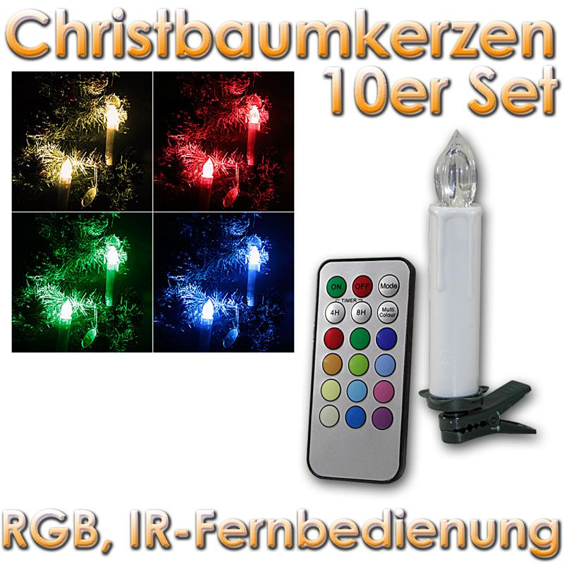 10er set rgb bunt led weihnachtskerzen kabellos. Black Bedroom Furniture Sets. Home Design Ideas