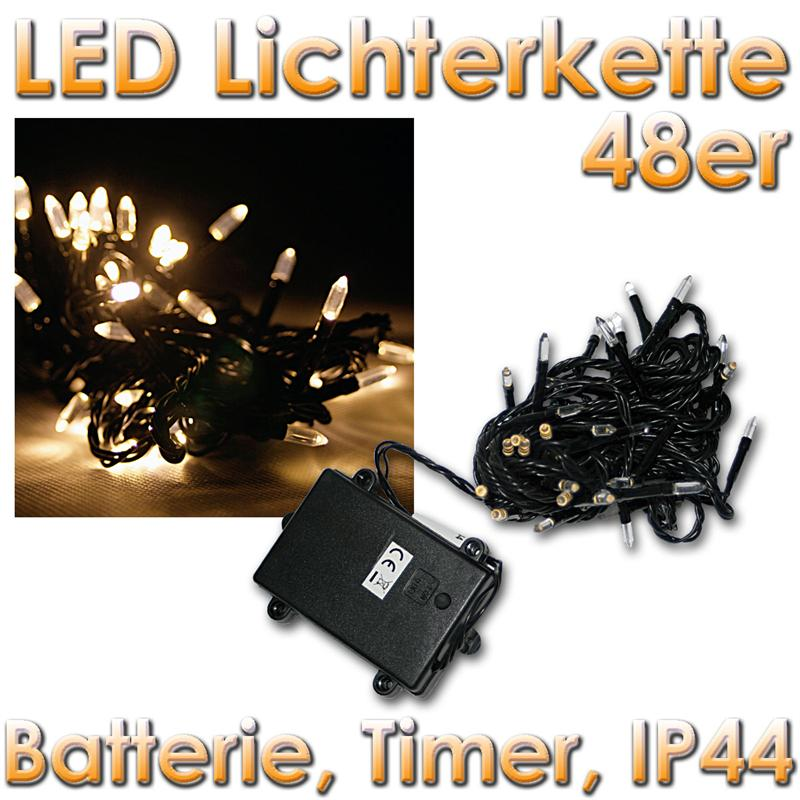 outdoor led lichterkette batteriebetrieben mit timer 8 funktion batterie betrieb ebay. Black Bedroom Furniture Sets. Home Design Ideas