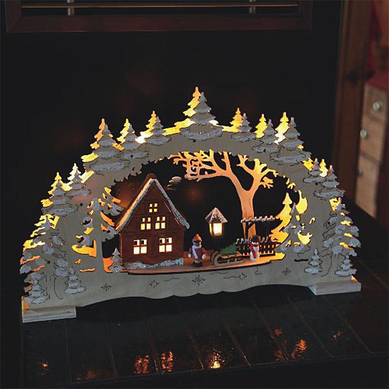 christmas festive scene wooden window candle arch bridge. Black Bedroom Furniture Sets. Home Design Ideas