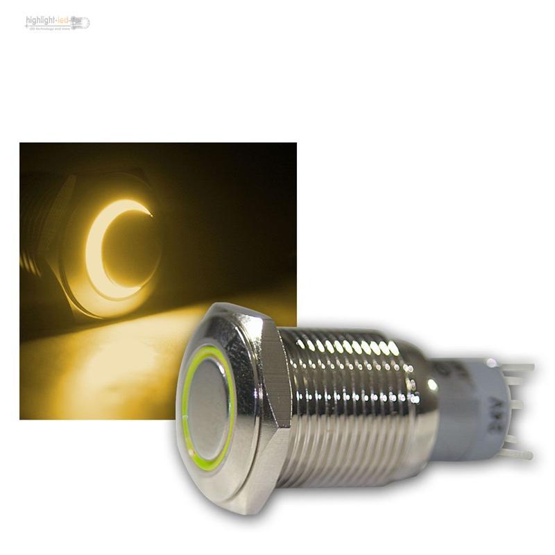 schalter aus metall mit led beleuchtung licht max 230v 3a druckschalter rund ebay. Black Bedroom Furniture Sets. Home Design Ideas