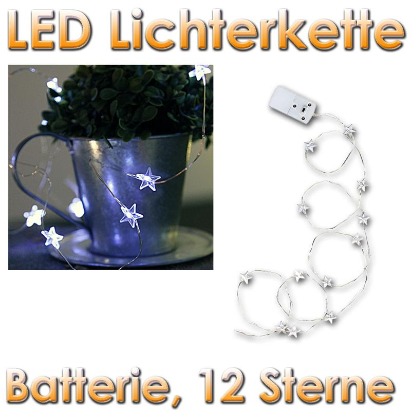 "LED Batterie-Lichterkette ""String"" 12 weiße SterneA"