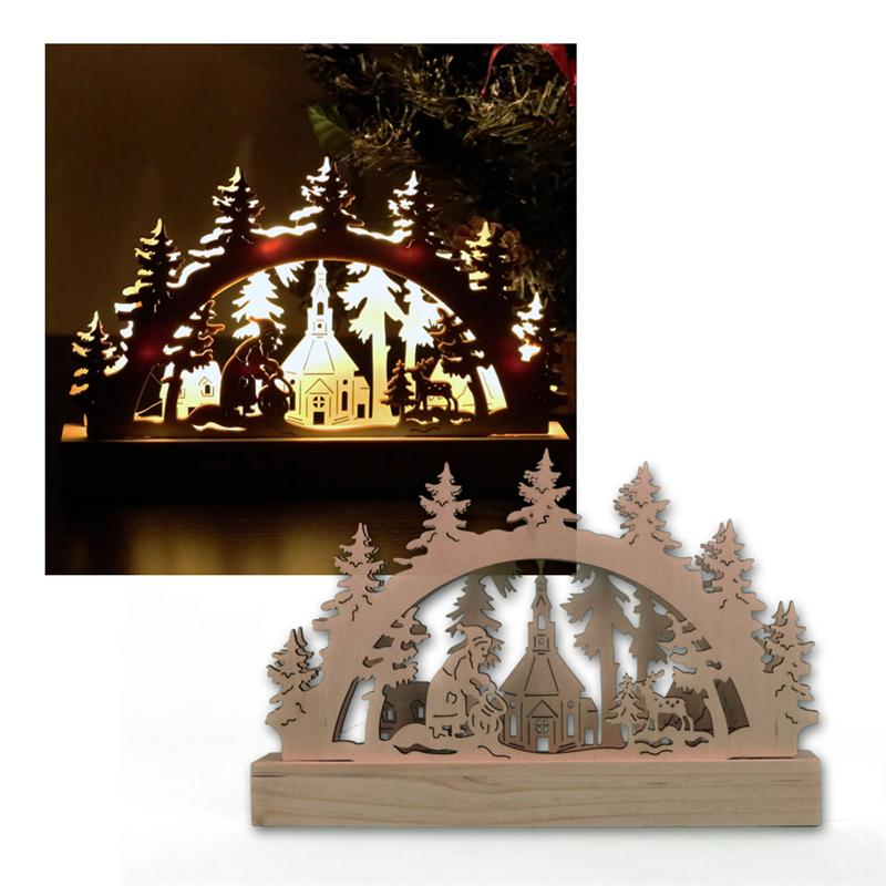 Christmas festive scene wooden window candle arch bridge for Arch window decoration
