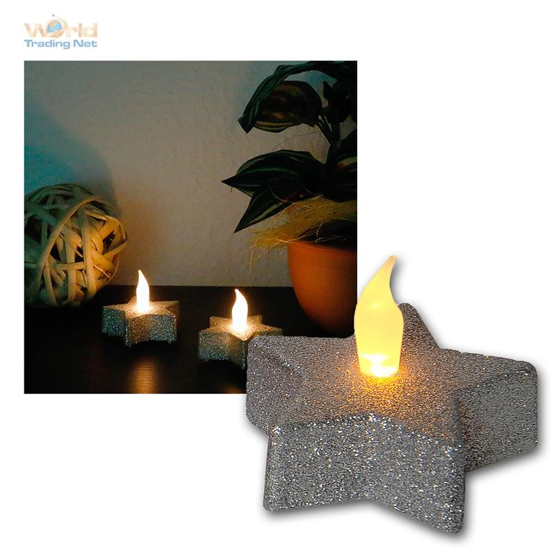 Led Tea Light Set Of 2 Quot Star Quot Flickering Tealight Candles