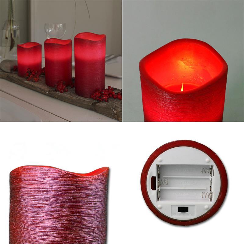 led echtwachs kerze strukturiert timer flackernde flammenlose kerzen flackernd ebay. Black Bedroom Furniture Sets. Home Design Ideas