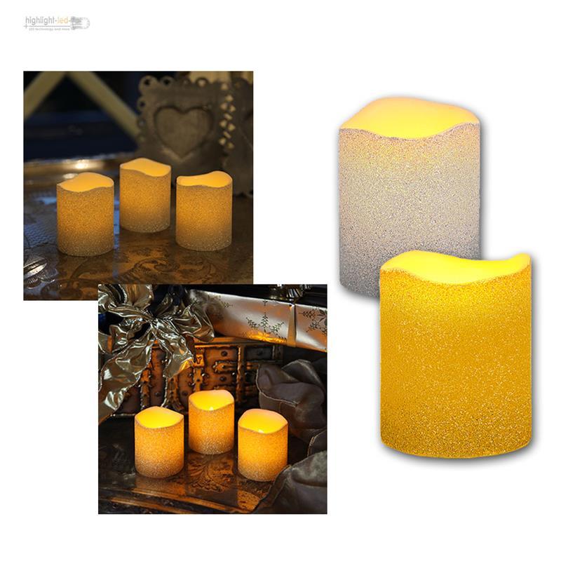3er set led echtwachskerze flackernde flammenlose kerzen flackernd tischkerze ebay. Black Bedroom Furniture Sets. Home Design Ideas