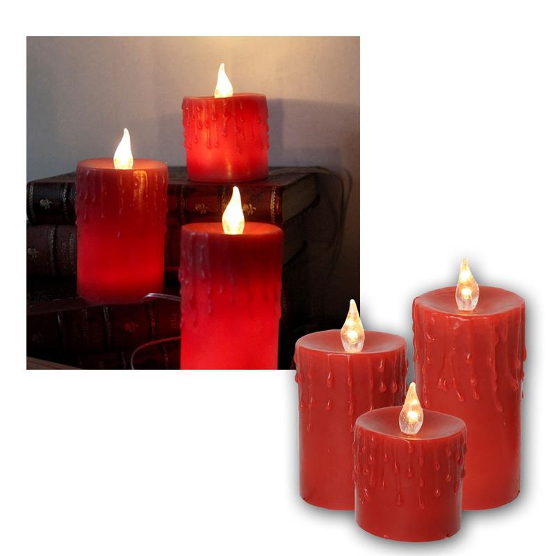 wachskerzen 3er set led kerzen mit netzteil kerze flackernd flammenlos wachs ebay. Black Bedroom Furniture Sets. Home Design Ideas