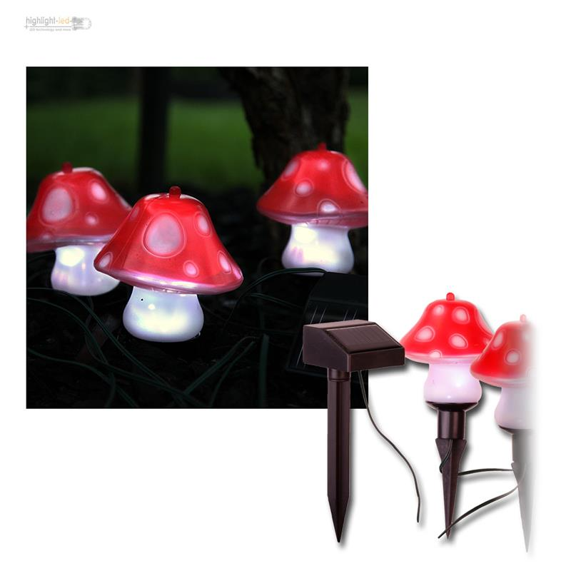 led lichterkette solar pilze 3er set led garten fliegenpilze deko lichter lampen ebay. Black Bedroom Furniture Sets. Home Design Ideas