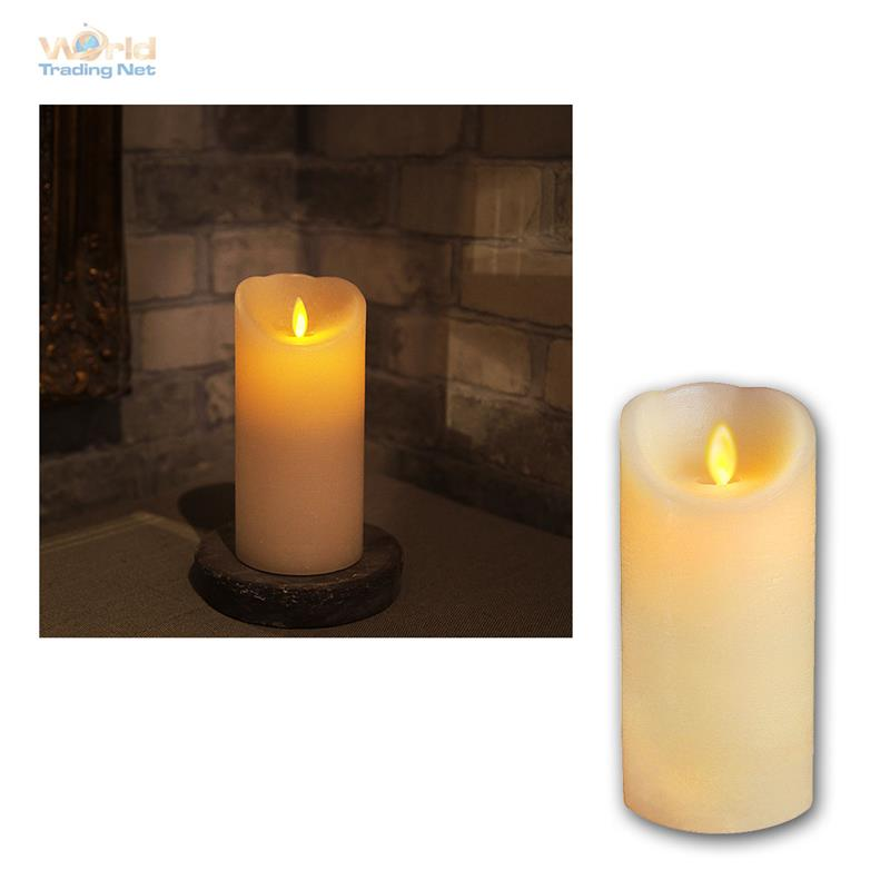 echtwachs kerze mit bewegter led flamme wachs kerzen flammenlos flackernd candle ebay. Black Bedroom Furniture Sets. Home Design Ideas