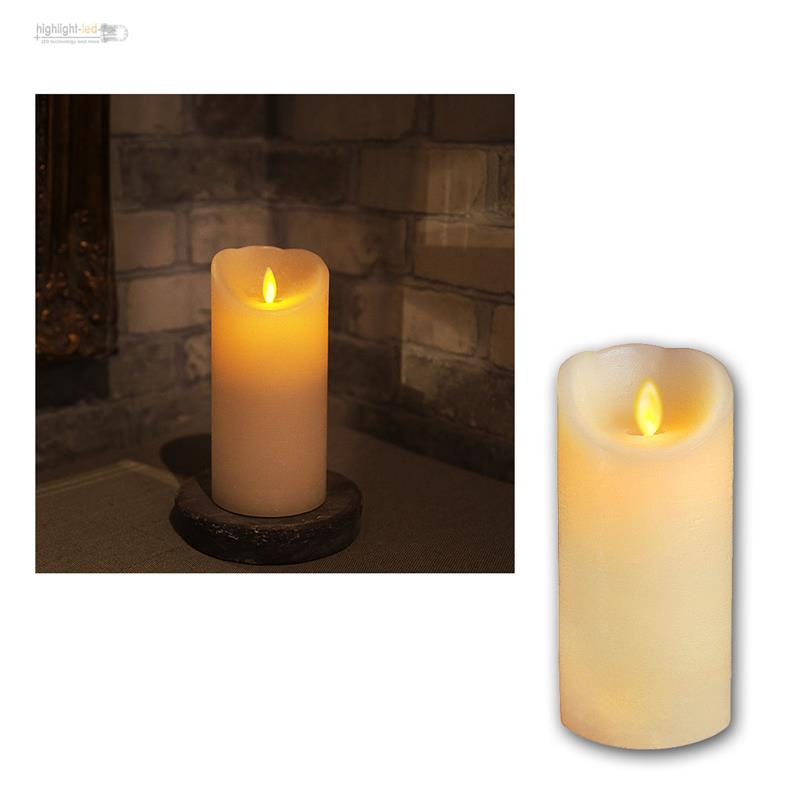 echtwachs kerze mit bewegter led flamme wachs kerzen candle flammenlos flackernd ebay. Black Bedroom Furniture Sets. Home Design Ideas