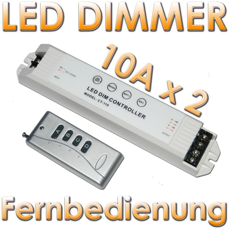 led dimmer mit fernbedienung max 2x 10a 12v 24v leds. Black Bedroom Furniture Sets. Home Design Ideas