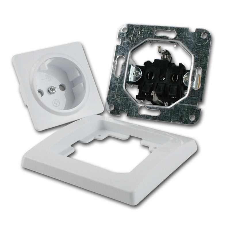 DELPHI-16-Stueck-Schutzkontakt-Steckdose-weiss-250V-16A-Klemmanschluss-UP-Rahmen Indexbild 3