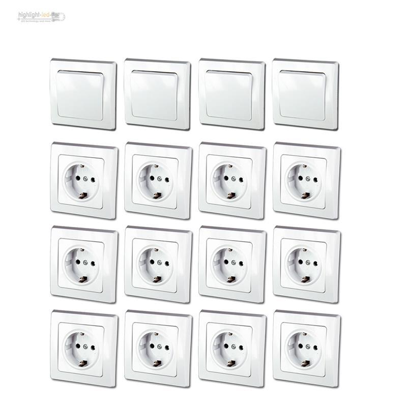 Rahmen weiß 16er Set Schalter Steckdose inkl DELPHI Unterputz Starter-Kit UP