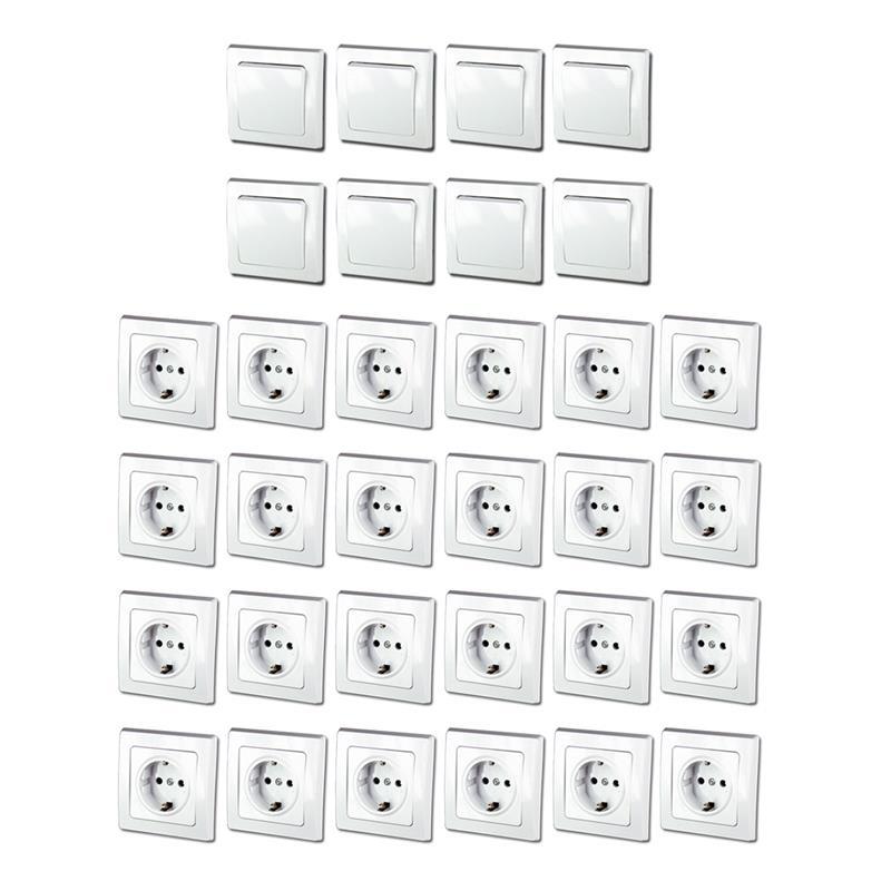 delphi unterputz starter kit 32er set schalter steckdose inkl rahmen wei up ebay. Black Bedroom Furniture Sets. Home Design Ideas
