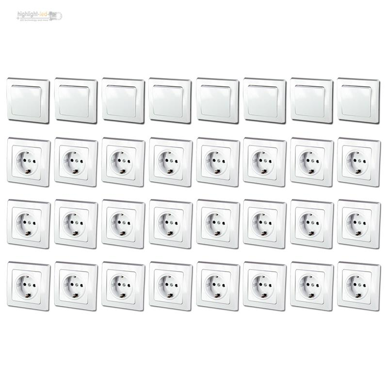 DELPHI Starter-Kit, 32-teiliges Set 24x STECKDOSE 8x LICHTSCHALTER ...