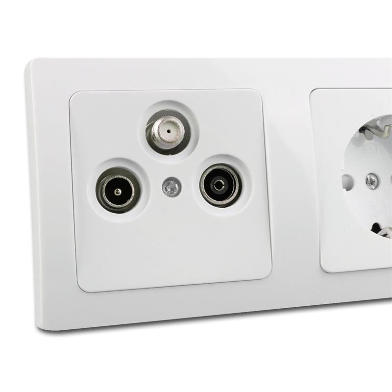 delphi prise lectrique steckkdose 230v bo tier pour antenne sat blanc ebay. Black Bedroom Furniture Sets. Home Design Ideas