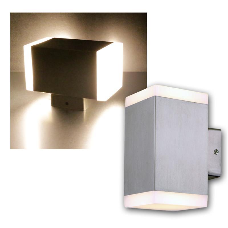 LED-Wandleuchte-034-Cedros-14-034-Edelstahl-eckig-warmweiss-900lm-Aussenwandleuchte-NEU