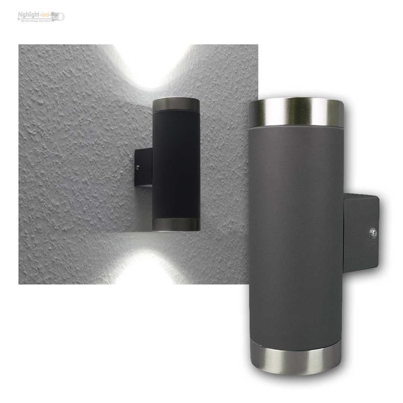 led wandleuchte anthrazit edelstahl au en ip44 au enleuchte fassade wandlampe ebay. Black Bedroom Furniture Sets. Home Design Ideas